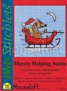 Mouseloft Meerly Helping Santa Card Christmas Stitchlets cross stitch kit